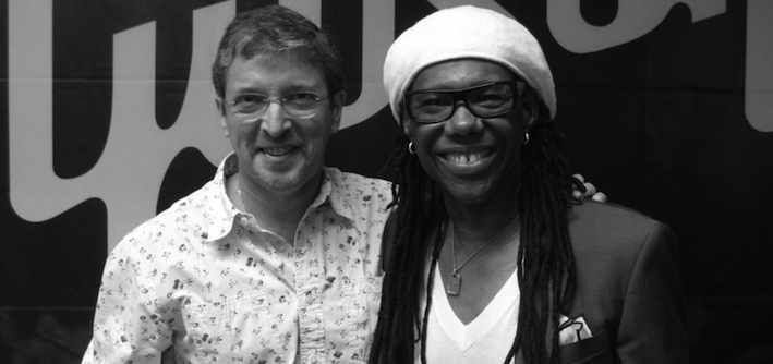 Shakira producer P. Hoyle with Guitarist N. Rogers